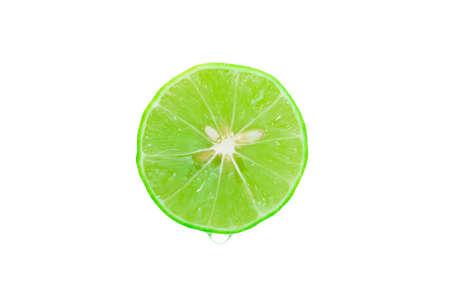 Fresh green lemons Water droplets on a white background Foto de archivo - 152245264