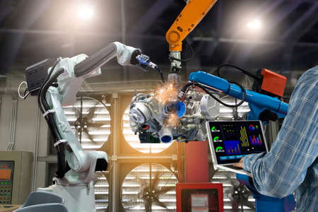 Engineering control of robotics in industrial plants Production technology Foto de archivo