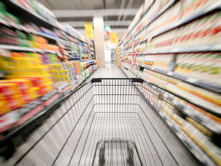 The shopping cart in the supermarket is blurry, Department store