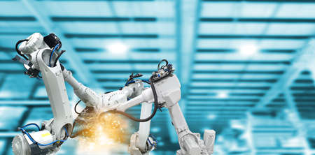 Mechanical arm technology Industrial automation robots factory machinery 스톡 콘텐츠