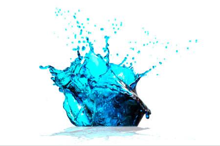 Water Blue splash on a white background 스톡 콘텐츠 - 154734929