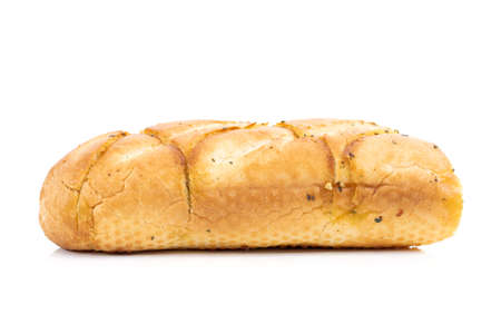 Tasty bread with garlic cheese and herbs on a white background