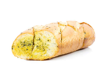 Tasty bread with garlic cheese and herbs on a white background 스톡 콘텐츠 - 155579696