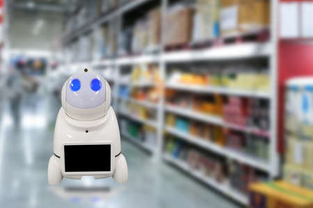 Smart automation robots in factory concept technology in warehouse