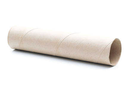 Tissue paper core on a white background