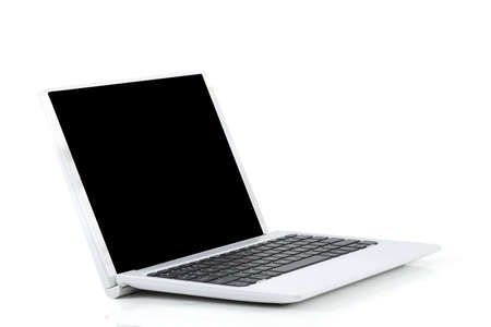 A laptop computer on a white background