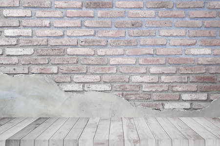a floor wooden terrace on brick background