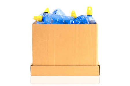 a box with a plastic bottle to be recycled on a white background 스톡 콘텐츠