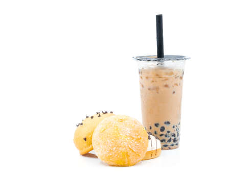 Sweet food bread and Pearl Egg Milk Tea on a white background