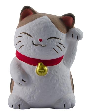 fortune cat: Lucky cat sculpture Stock Photo