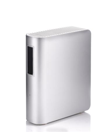 gigabytes: External hard drive isolated on white background