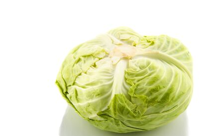 whole green cabbage isolated on white background