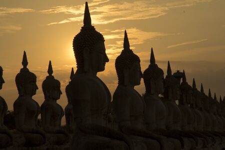 Big buddha statue in sunset background, Buddha statue in Thailand, art of religion concept Imagens