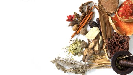 Chinese herb selection used in traditional alternative herbal medicine with mortar and pestle on white background. Natural herbs medicine, and herbal medicinal root. Alternative Medicine Herbal