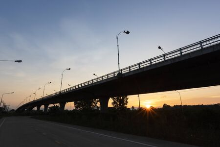 silhouette Second Thai - Myanmar Friendship Bridge at dusk, Mae Sot, Tak, Thailand
