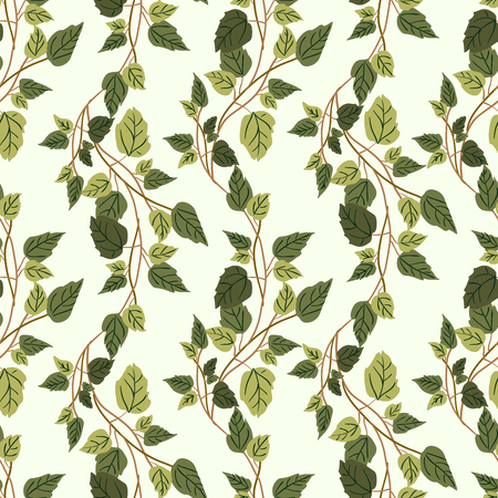 clambering: Vector green plants seamless pattern background with abstract plants with leaves and branches forming a floral texture.