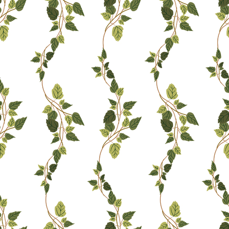 creeper: Vector green plants seamless pattern background with abstract plants with leaves and branches forming a floral texture.