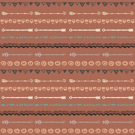 ethic: Tribal hand drawn background, ethic doodle pattern. Geometric borders. Hand drawn abstract backdrop. Wallpaper for pattern fills, web page