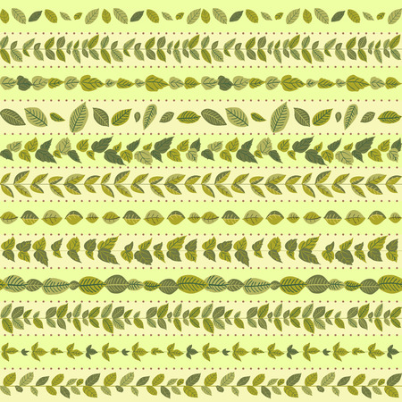 naturalistic: Set of seamless naturalistic brushes of branches and leaves.