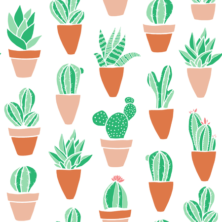 Seamless hipster pattern made of cactuses in flower pots.  Vettoriali