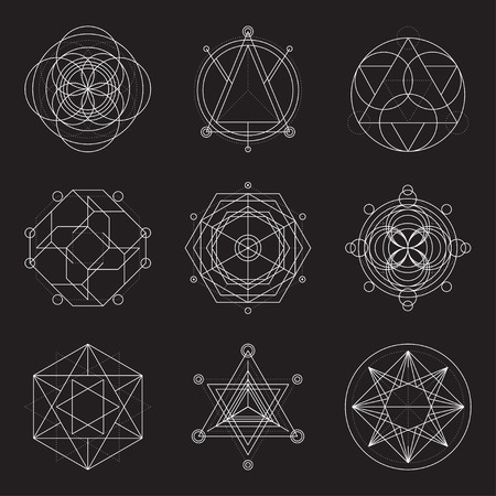 Set of 6 geometrical elements. Sacred Geometry graphic