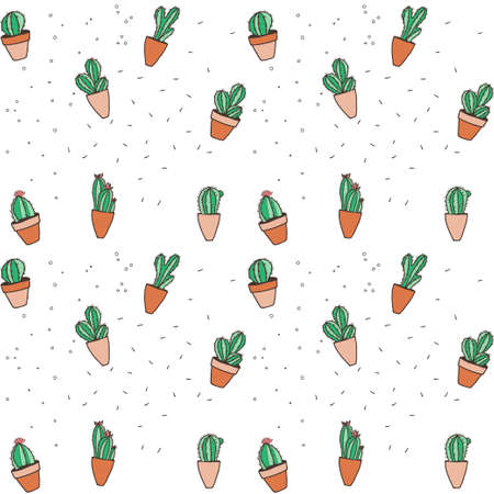 Seamless hipster pattern made of cactuses in flower pots.  Archivio Fotografico