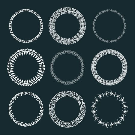 Set of 9 tribal circles. Hand drawn vector wreaths.
