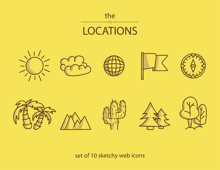 Set of 10 line web icons with symbols of different locations such as a beach, forest, desert etc. Vettoriali