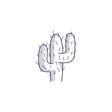 Minimalistic hand-drawn icon with a desert cactus. Hatched web icon. Internet symbol for your website design, icon, app, UI.