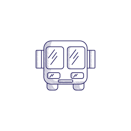 Minimalistic hand-drawn icon with a front view of the bus. Hatched web icon. Internet symbol for your website design, logo, app, UI.