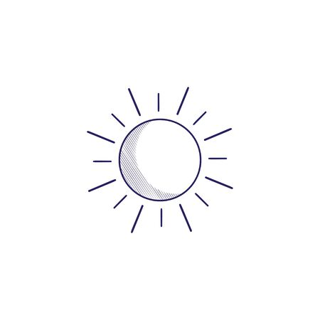 Minimalistic hand-drawn icon with the sun.  Hatched web icon. Internet symbol for your website design, logo, app, UI. Vettoriali