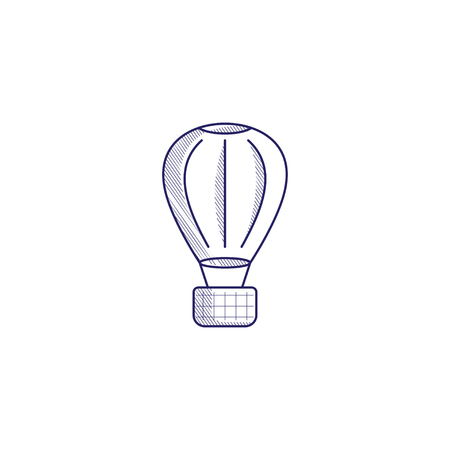 Minimalistic hand-drawn icon with a big air balloon. Hatched web icon. Internet symbol for your website design, logo, app, UI. Vettoriali