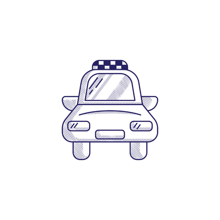 Minimalistic hand-drawn icon with a front view of the taxi. Hatched web icon. Internet symbol for your website design, logo, app, UI.