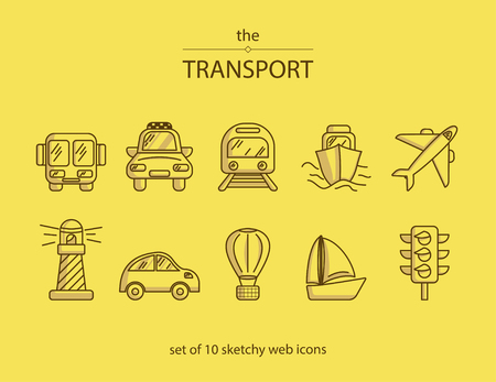 Set of 10 line web icons with symbols of different kinds of transport such as a car, bus, boat, plane etc.