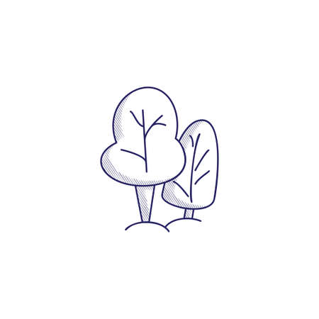 Minimalistic hand-drawn icon with two trees. Hatched web icon. Internet symbol for your website design, logo, app, UI.