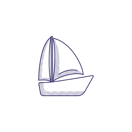 Minimalistic hand-drawn icon with a boat with sails.