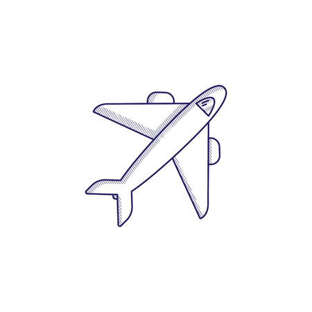Minimalistic hand-drawn icon with a flying plane. Hatched web icon. Internet symbol for your website design, logo, app, UI.