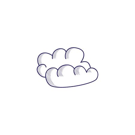 Minimalistic hand-drawn icon with a clouds. Hatched web icon. Internet symbol for your website design, logo, app, UI.