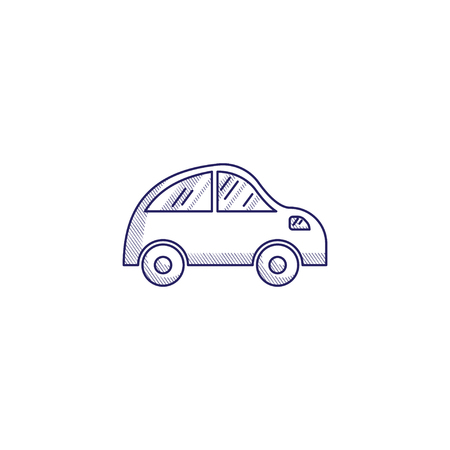 Minimalistic hand-drawn icon with a small car. Hatched web icon. Internet symbol for your website design, logo, app, UI. Vettoriali