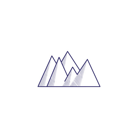 Minimalistic hand-drawn icon with the mountains. Hatched web icon. Internet symbol for your website design, logo, app, UI.
