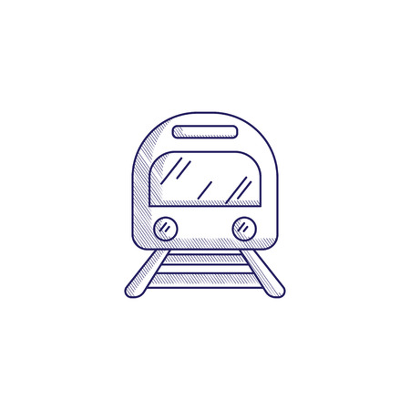 Minimalistic hand-drawn icon with a front view of the train.