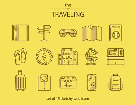 Set of 15 lines web icons with different travel symbols such as notepad, pointer, glasses, map, passport, compass, hotel, globe, purse, shirt, suitcase, camera, phone, backpack.