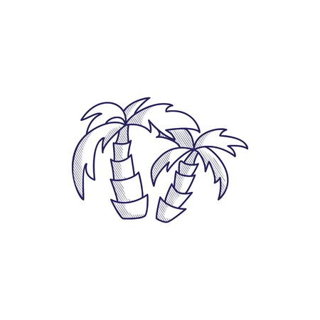 Minimalistic hand-drawn icon with a two palm trees. Hatched web icon. Internet symbol for your website design, logo, app, UI.