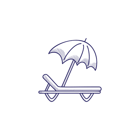 Minimalistic hand-drawn icon with a sunbed and umbrella.