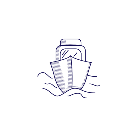 Minimalistic hand-drawn icon with a front view of the boat. Hatched web icon. Internet symbol for your website design, logo, app, UI.