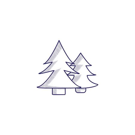 Minimalistic hand-drawn icon with a forest. Hatched web icon. Internet symbol for your website design, logo, app, UI.