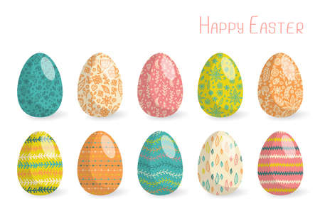 Set of 10 colorful Easter eggs with abstract hand-drawn patterns. Vettoriali