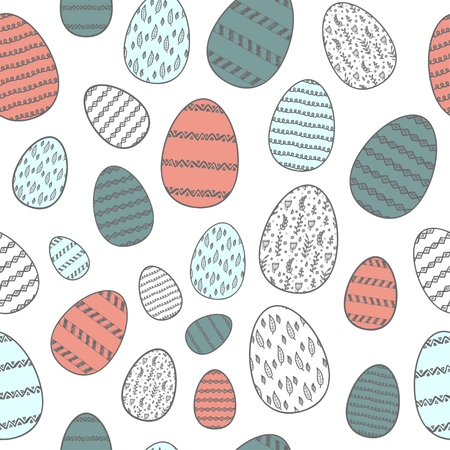 Easter seamless pattern with colored eggs, traditional holidays.