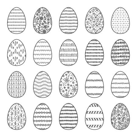Set of 10 colorful Easter eggs with abstract hand drawn patterns.