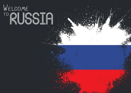 Welcome to Russia poster with abstract Russian flag and splash